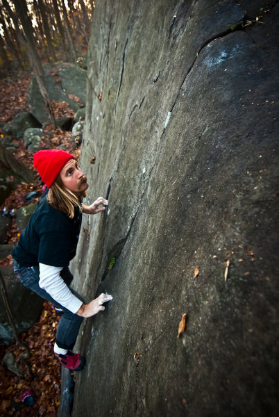 Rock Climbing Photo: Carl committing to suspect feet, on the last move ...