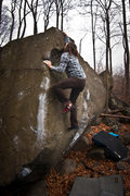 Rock Climbing Photo: Connor sticking last move of Bovine (V6), at Hange...