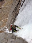 Rock Climbing Photo: Scramble up the gully to the ice - Concrete Shoes.