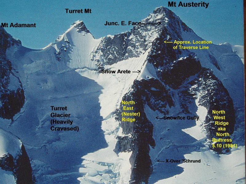 "The Nester Ridge, North (East) Ridge Mt Austerity [Photo David P. Jones, cover photo ""Selkirks North""]"