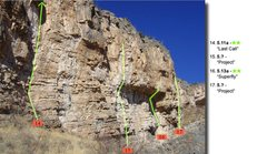 "Rock Climbing Photo: Routes right of ""Last call"".  This pictu..."