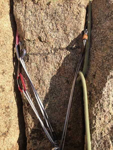 Belay ledge for the second pitch.  takes some smaller gear so remember to leave some nuts and smaller cams.