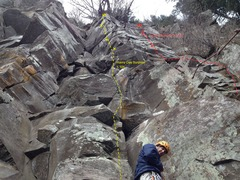 Rock Climbing Photo: Rainy Day Surprise is the middle line.