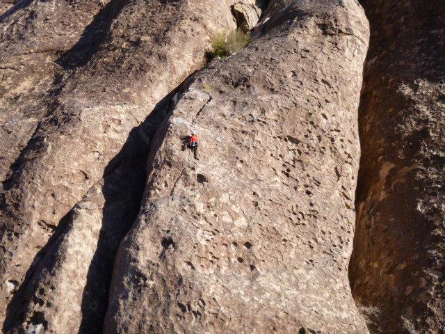 Rock Climbing Photo: Peter leading Alice in Banana Land - huecos galore...