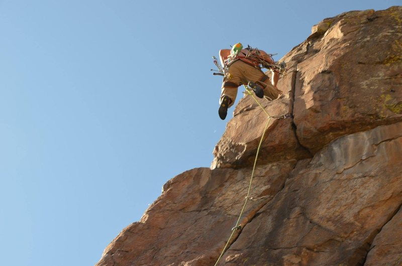 Dave taking a sweet fall at the crux.