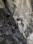 """Rock Climbing Photo: CT on the """"arete"""" of Muffin Top."""