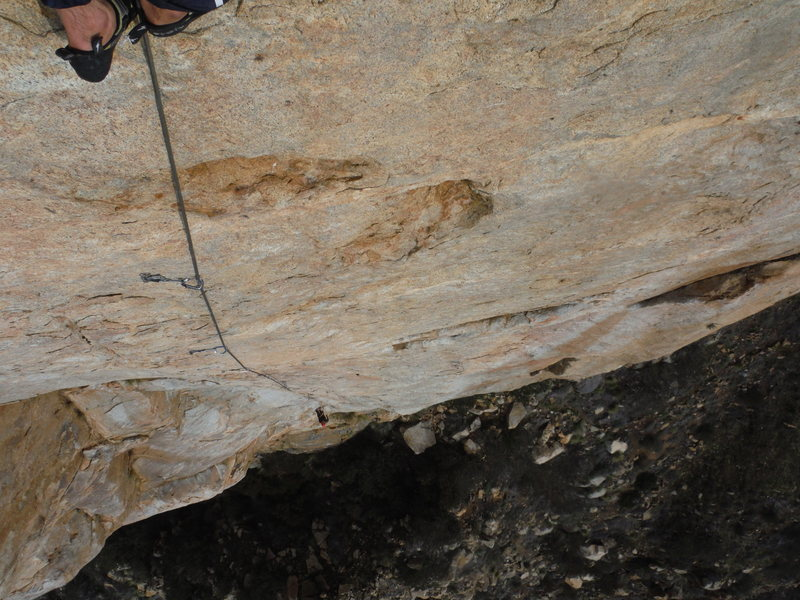 Rock Climbing Photo: Looking down the crimpfest (p2)