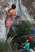 Rock Climbing Photo: Ken floating the crux