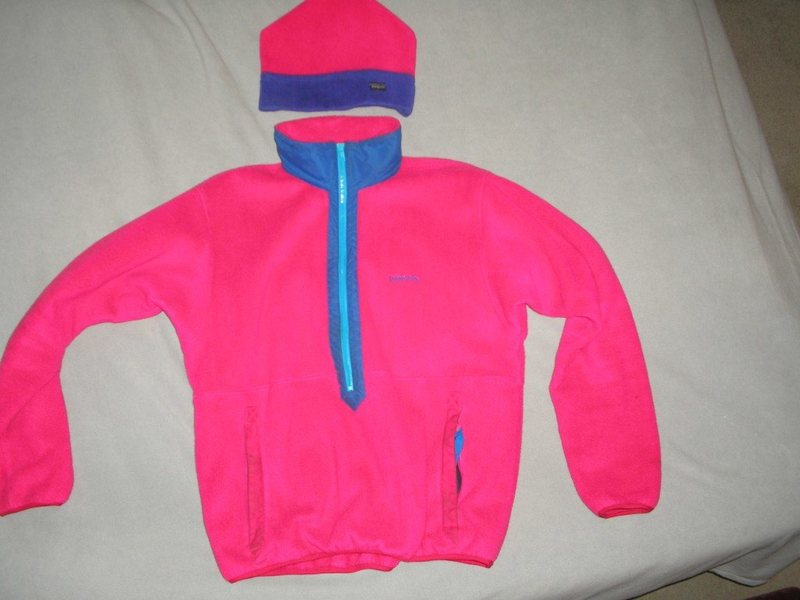 'Synchilla' soft fleece,,about mid 80's when wearing bright colors and lycra was also popular.,with matching hat too.