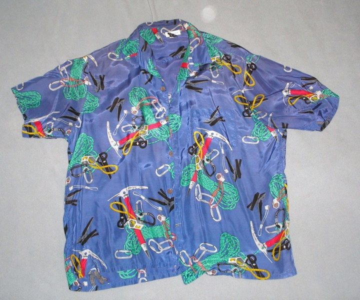 My priceless 'Hawaiian' shirt by  Chouinard/Patagonia, with GPIW pitons, hexcentrics, stoppers and other  gear shown on it.