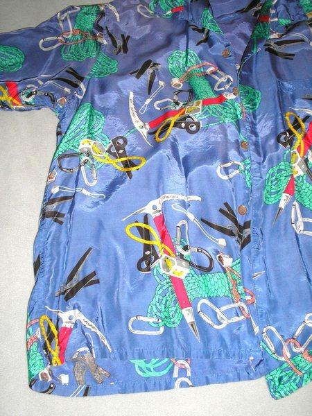 Close up details of the shirt design.