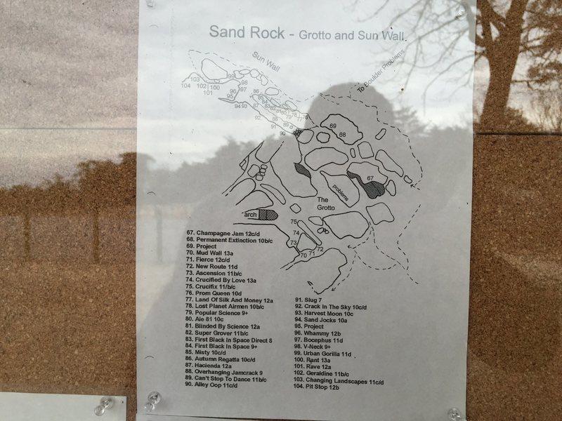 Rock Climbing Photo: Grotto and Sun Wall topo