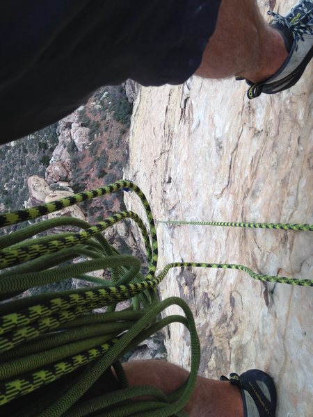 Rock Climbing Photo: Virtually all hanging belays on this climb