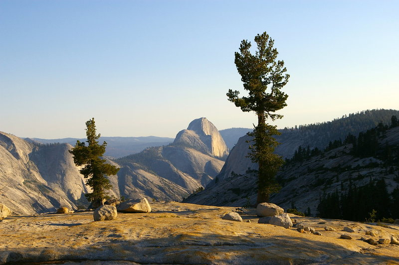Awesome twilight view of the Valley and Half Dome from Tenaya Lake