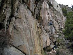Rock Climbing Photo: CK starting into the mantel.