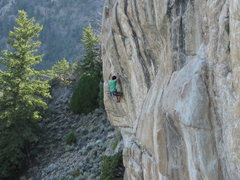Rock Climbing Photo: JT just after the crux move left off the layback f...