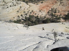 Rock Climbing Photo: Looking down the rte. People at the first belay. W...