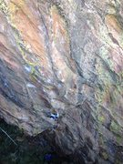 Rock Climbing Photo: Mid-crux and a whole lot of climbing to go....