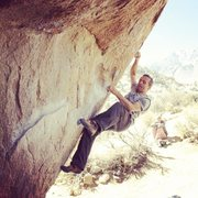 Searching for the right foot hold for the crux move