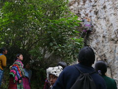 Rock Climbing Photo: Local pilgrims spectating with curiosity.