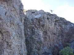 Rock Climbing Photo: Kevin Donahue on a section of undeveloped rock a s...