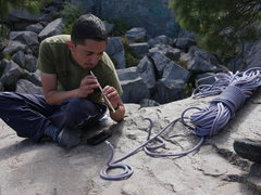 Rock Climbing Photo: Victor, charming some serpents.