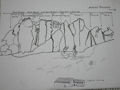 Rock Climbing Photo: Beta sketch drawn by Miguel Arango.