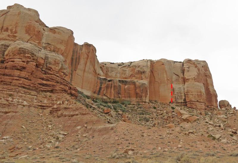 Rock Climbing Photo: Rockfall Wall, with 5 O'clock Shadow marked.