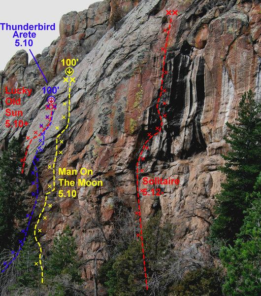 Rock Climbing Photo: Thunderbird Arete photo topo.