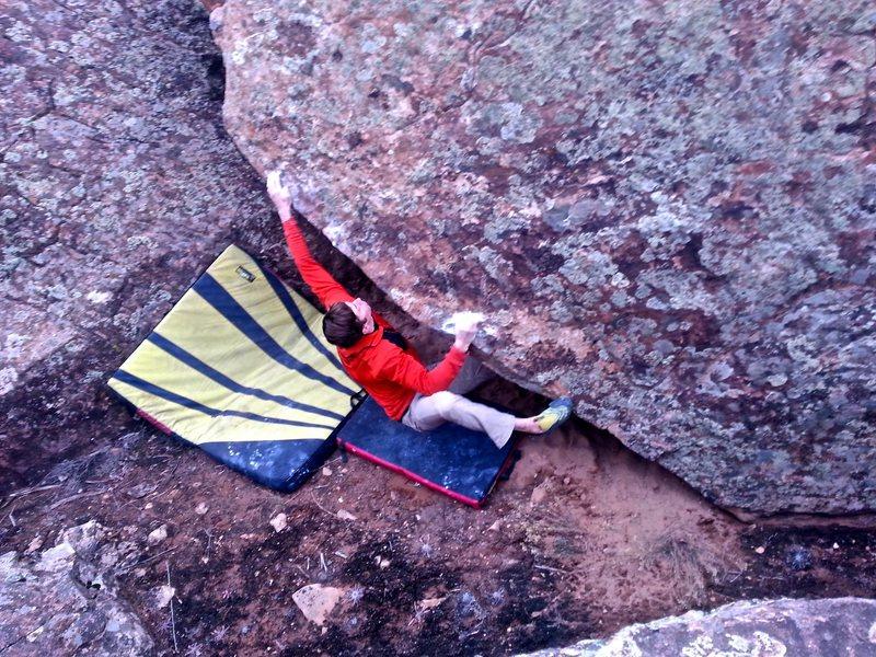 Rock Climbing Photo: Big move left.