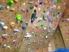 Rock Climbing Photo: Middle of home wall with the 35 degree wall and th...