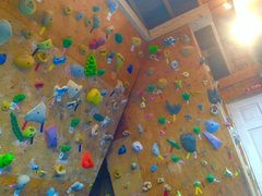 Rock Climbing Photo: Far right of home wall with the 15 degree wall on ...