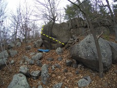 Tree Hugger Boulder. Climb starts bottom right and traverses left.