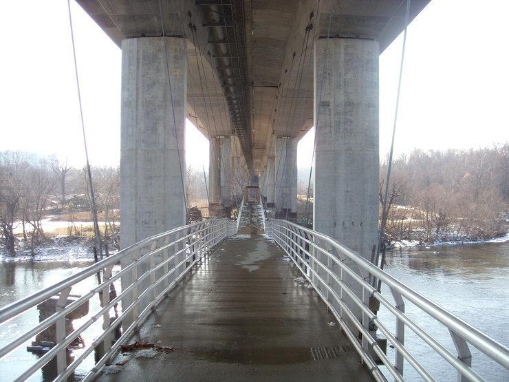 Crossing the suspension bridge to Belle Isle.<br> <br> <em>Originally posted by: RyanBram</em>