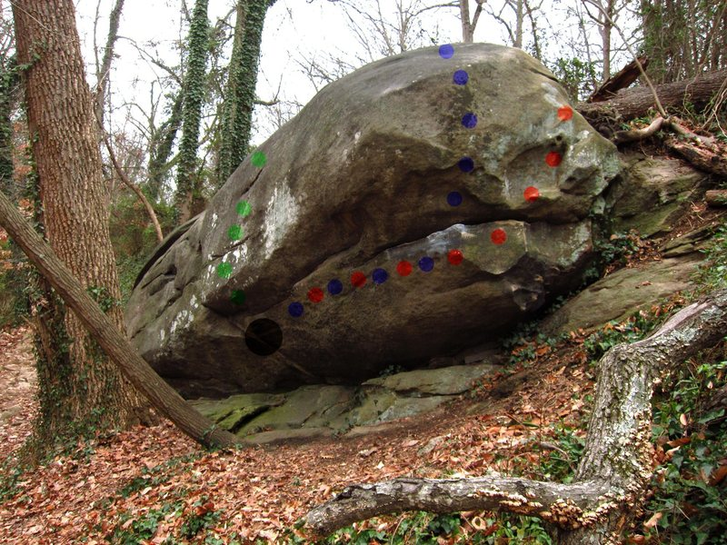 Right side of Whale Boulder (on Riverside Drive / Buttermilk trail)<br> Green- The Eye<br> Blue- Sweet Nothings<br> Red- Sweet Mouth