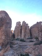 Rock Climbing Photo: TIYC is the thin seam on the middle(tallest) pilla...