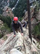 Rock Climbing Photo: The upper knife edge. The keyhole feature can be s...