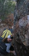 Rock Climbing Photo: Liesel staring down the big first move of Lightnin...