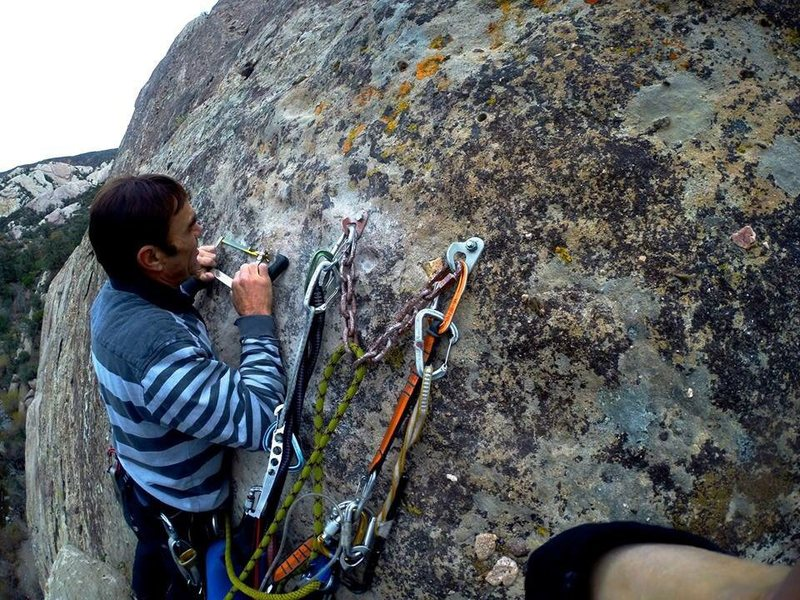 Rock Climbing Photo: Requiem getting an overhaul. New anchors and bolts...