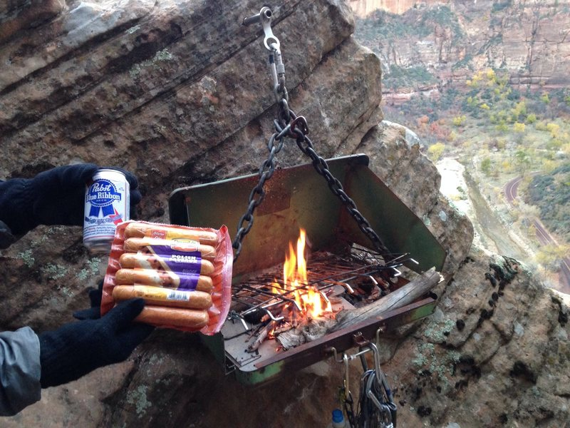 Rock Climbing Photo: What other bivy ledge has a grill?