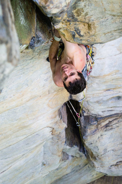 Rock Climbing Photo: Warren Whipple at the roof crux of Stuck in Anothe...