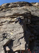 """Rock Climbing Photo: Paul at the crux of """"Stink Foot"""" (5.9- *..."""