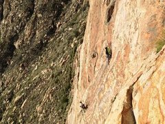 Rock Climbing Photo: P2 coming off belay station