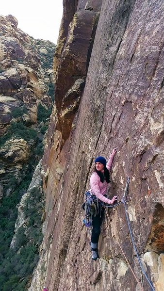Following P3 of I Dream of Wild Turkeys, 5.10a, Red Rocks, NV