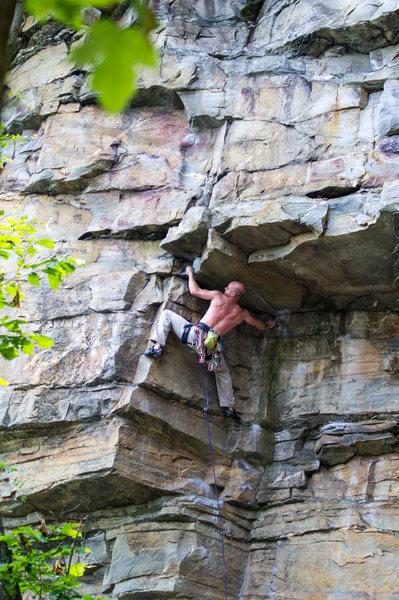 Rock Climbing Photo: Jason Philippi leading Blind Prophet (12c). Photo ...