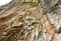 Rock Climbing Photo: Missing holds overview. 5.11b pitch no longer safe...