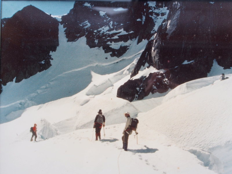 RoutePhoto#1 - On Granite Glacier - the snow/ice gully leading to the ridge is clearly seen in the background.