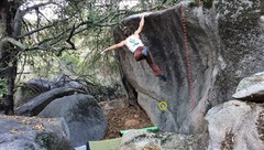 Rock Climbing Photo: Yellow circle is the start for High Expectations  ...