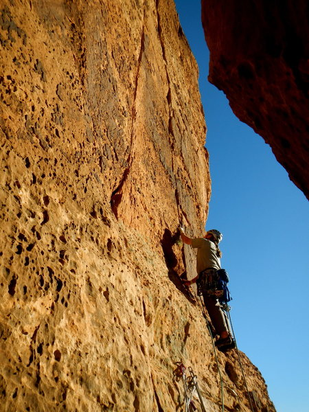 Rock Climbing Photo: Drew S. starting up the right crack on the 3rd pit...