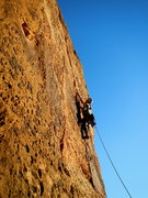 Rock Climbing Photo: FA of the 3rd pitch right crack. Fragile wafer hol...